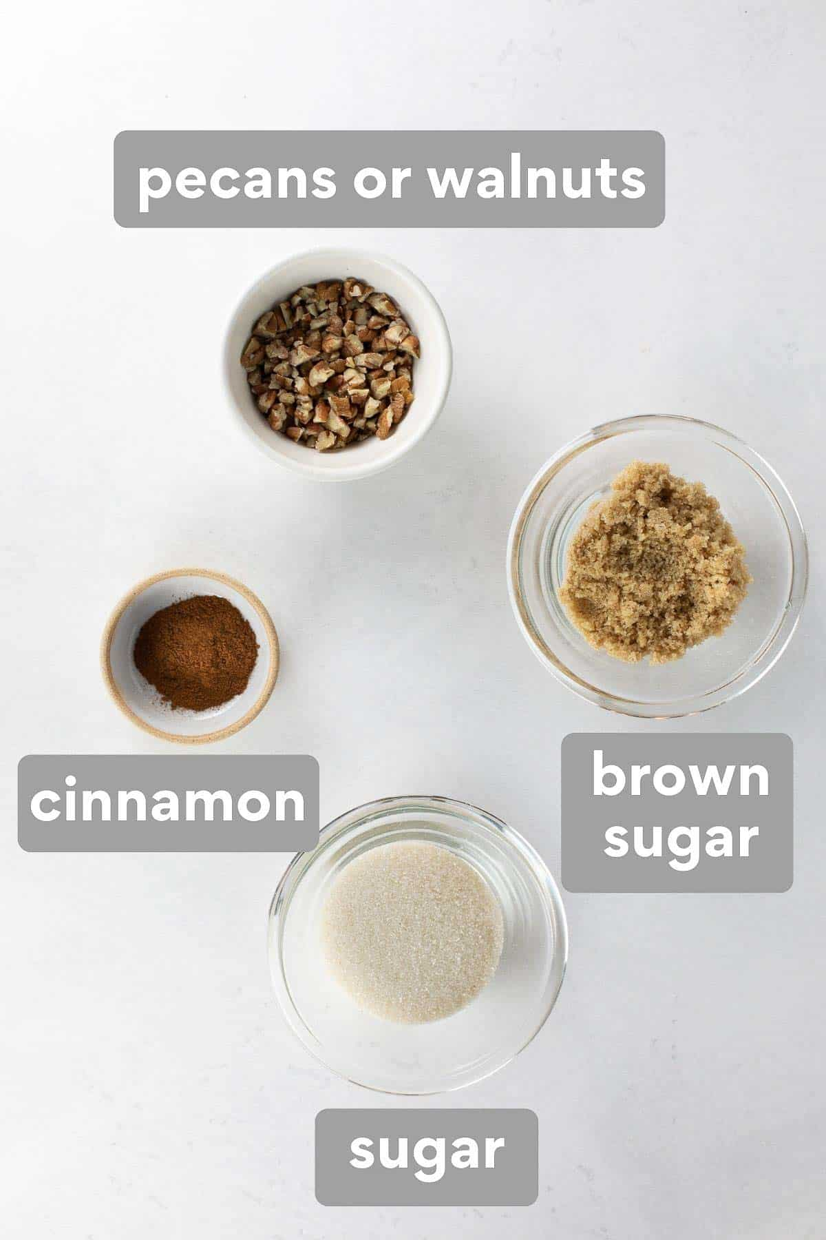 labeled image of ingredients to make coffee cake topping