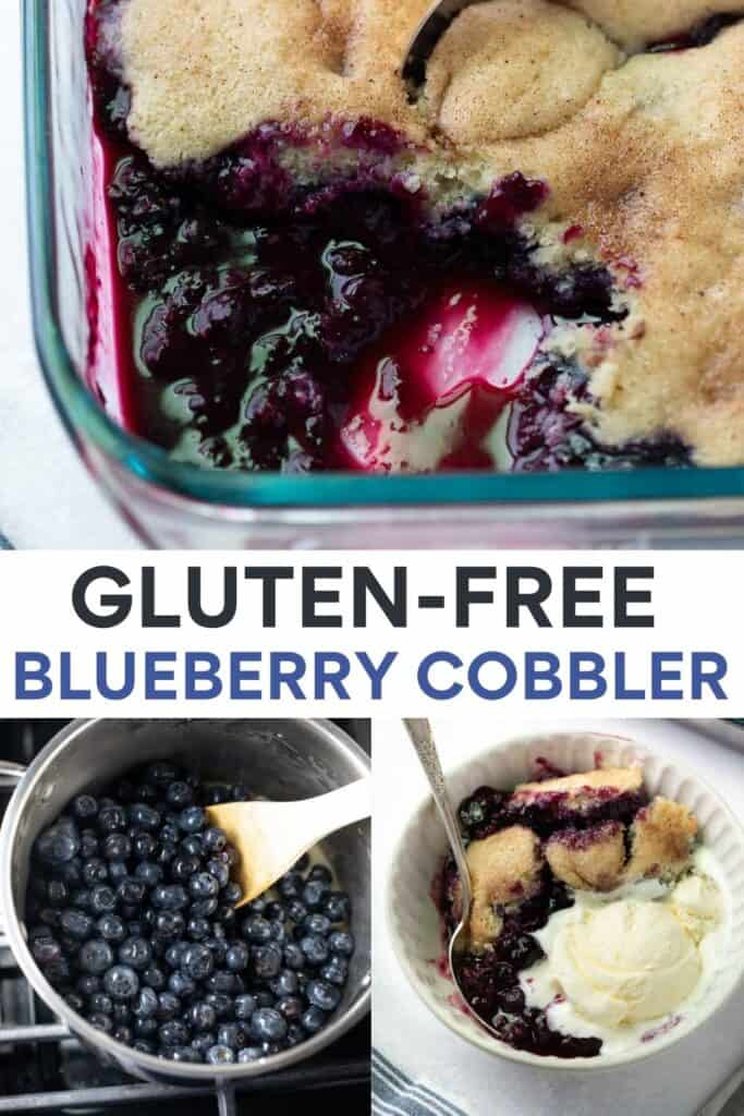 collage image for pinterest of blueberry cobbler photos