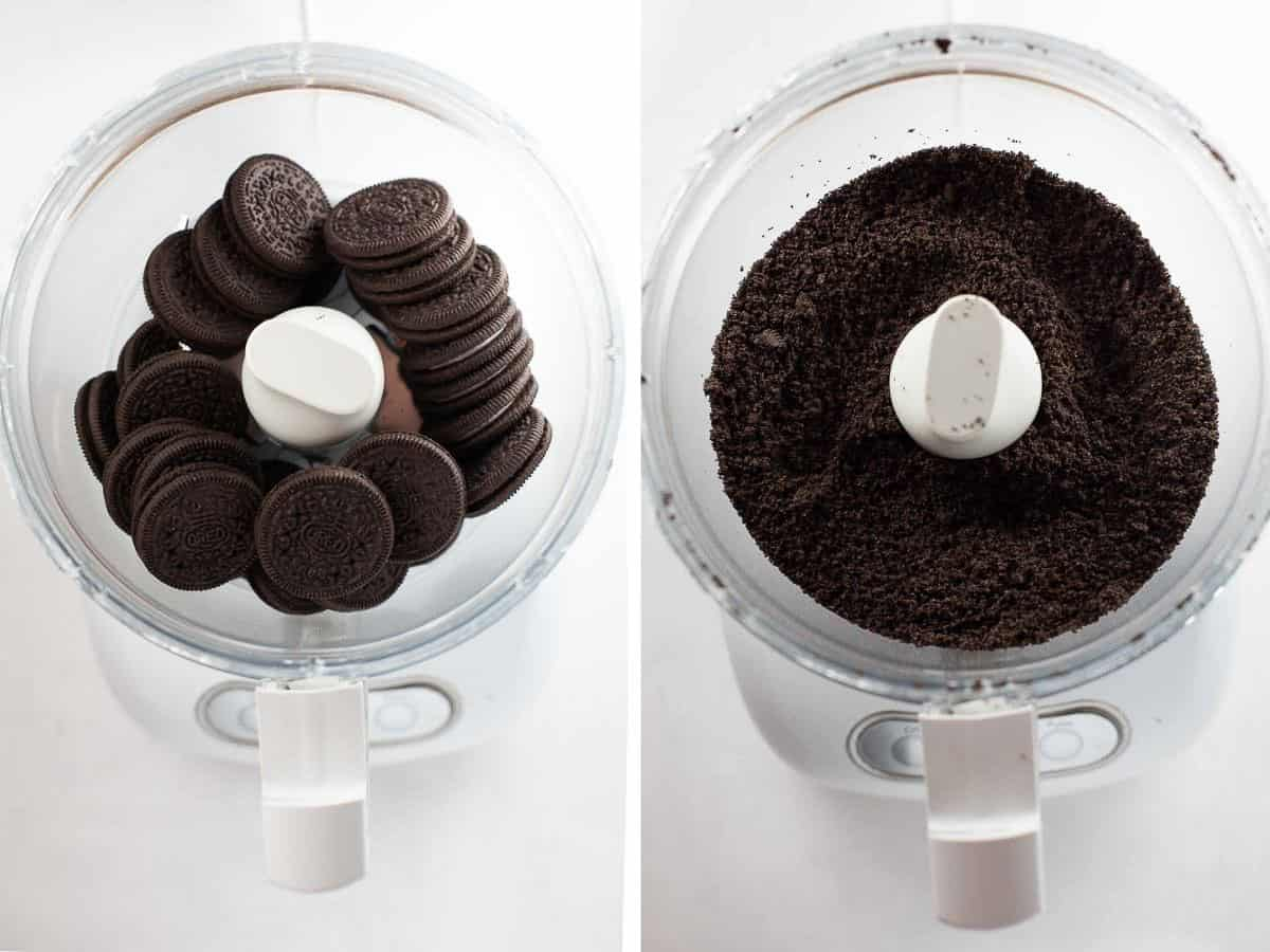collage of food processor with gluten free oreos whole and ground