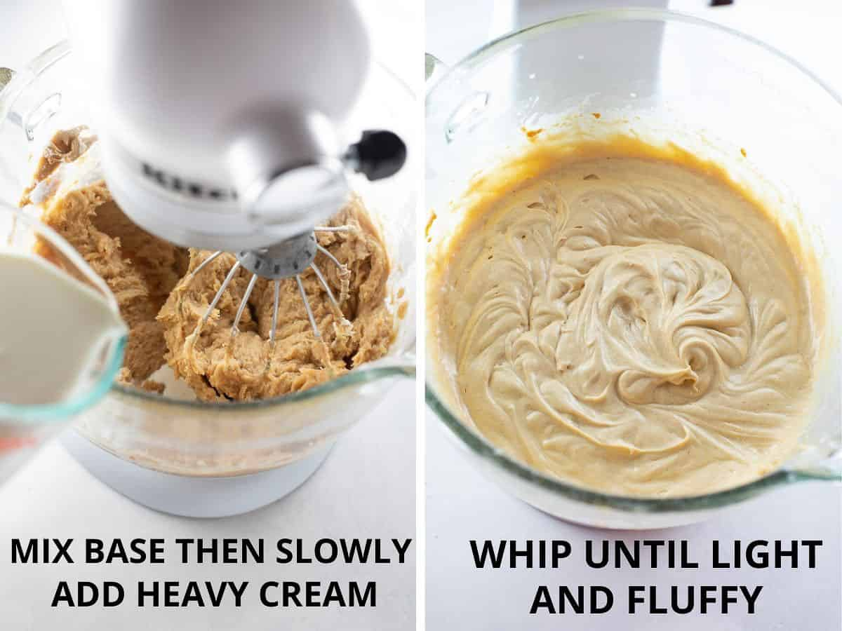 how to mix together the base of the peanut butter pie and whip until light and fluffy