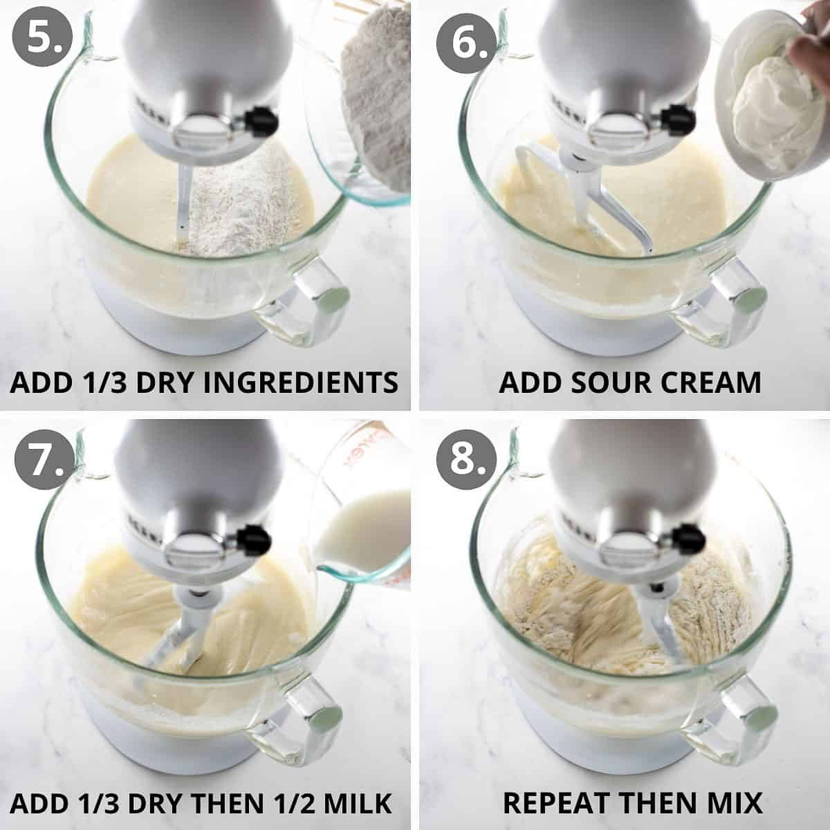 step by step photos of how to make add the dry ingredients to the cake batter