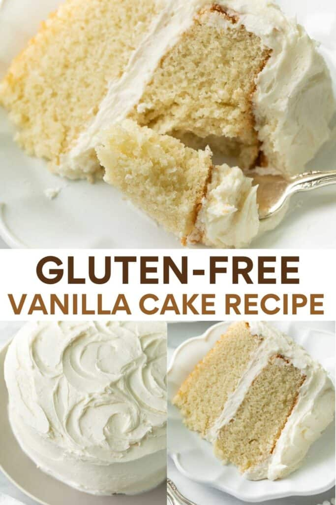 image for pinterest of collage of gluten free vanilla cake