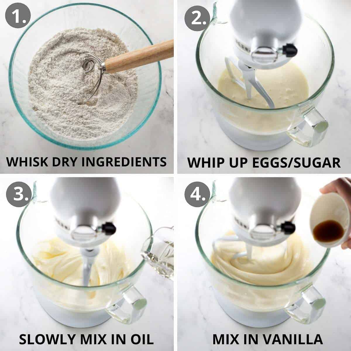 step by step photos of how to mix together the gluten free cake batter