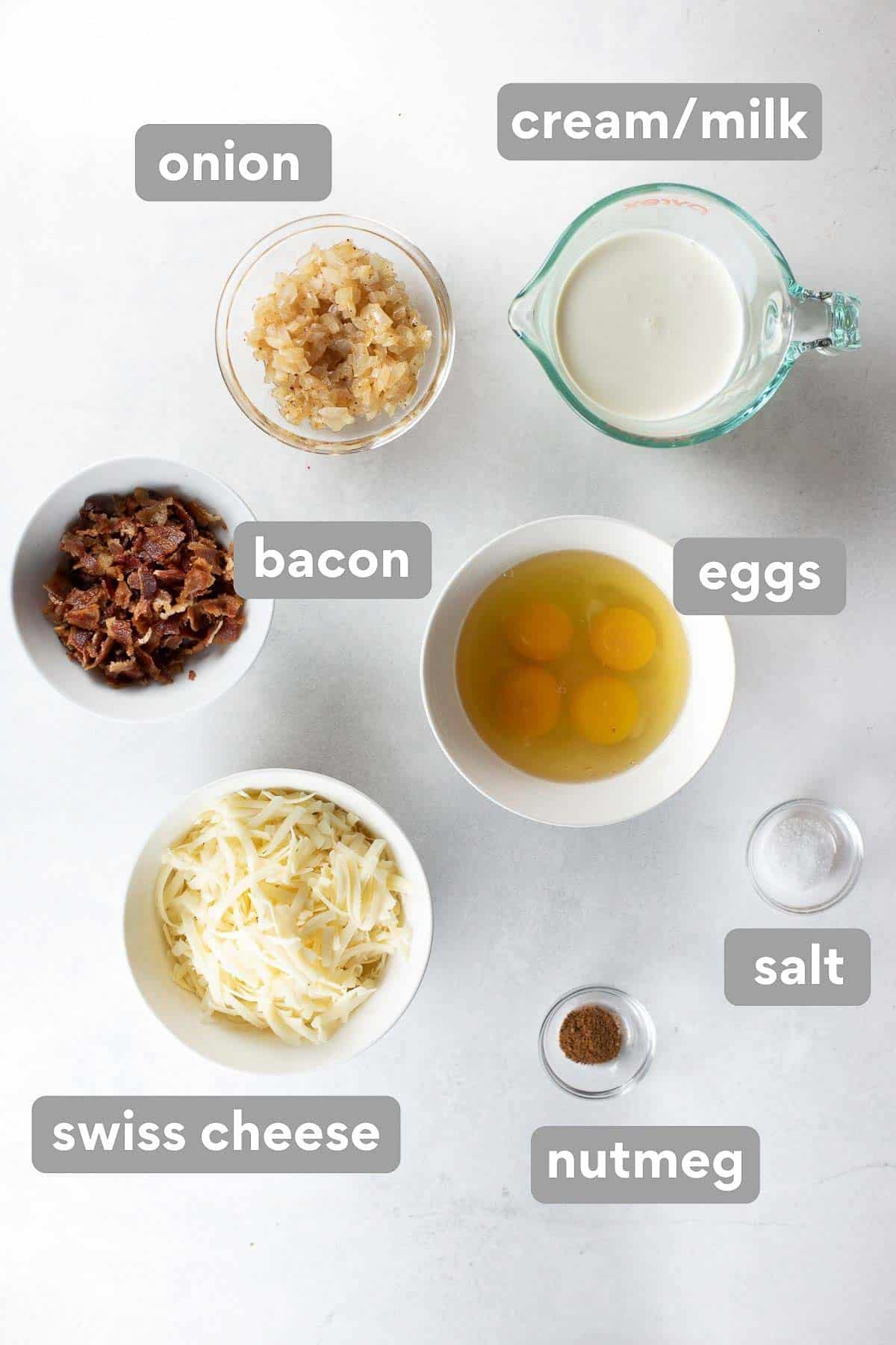 labeled collage of ingredients to make the quiche