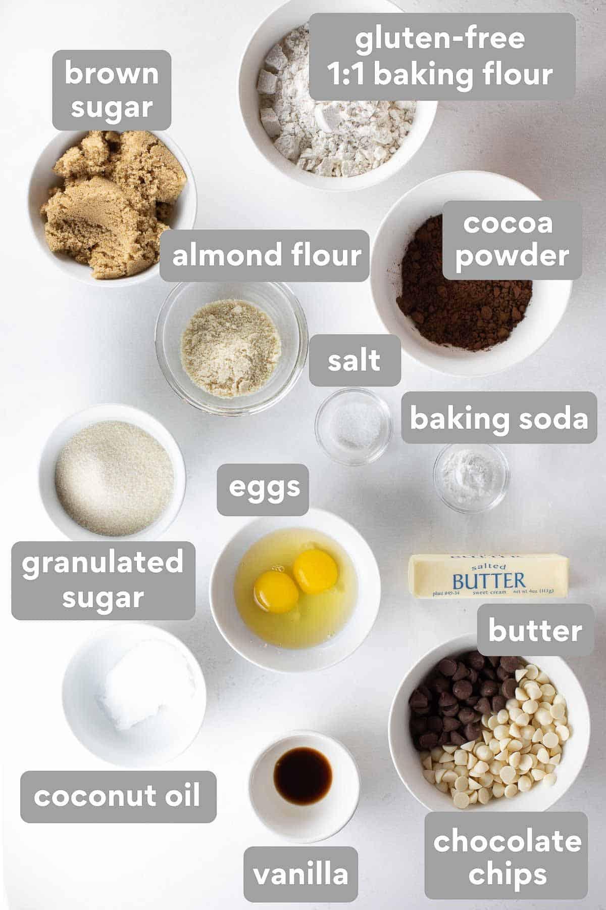 overhead shot of ingredients to make gluten free chocolate cookies