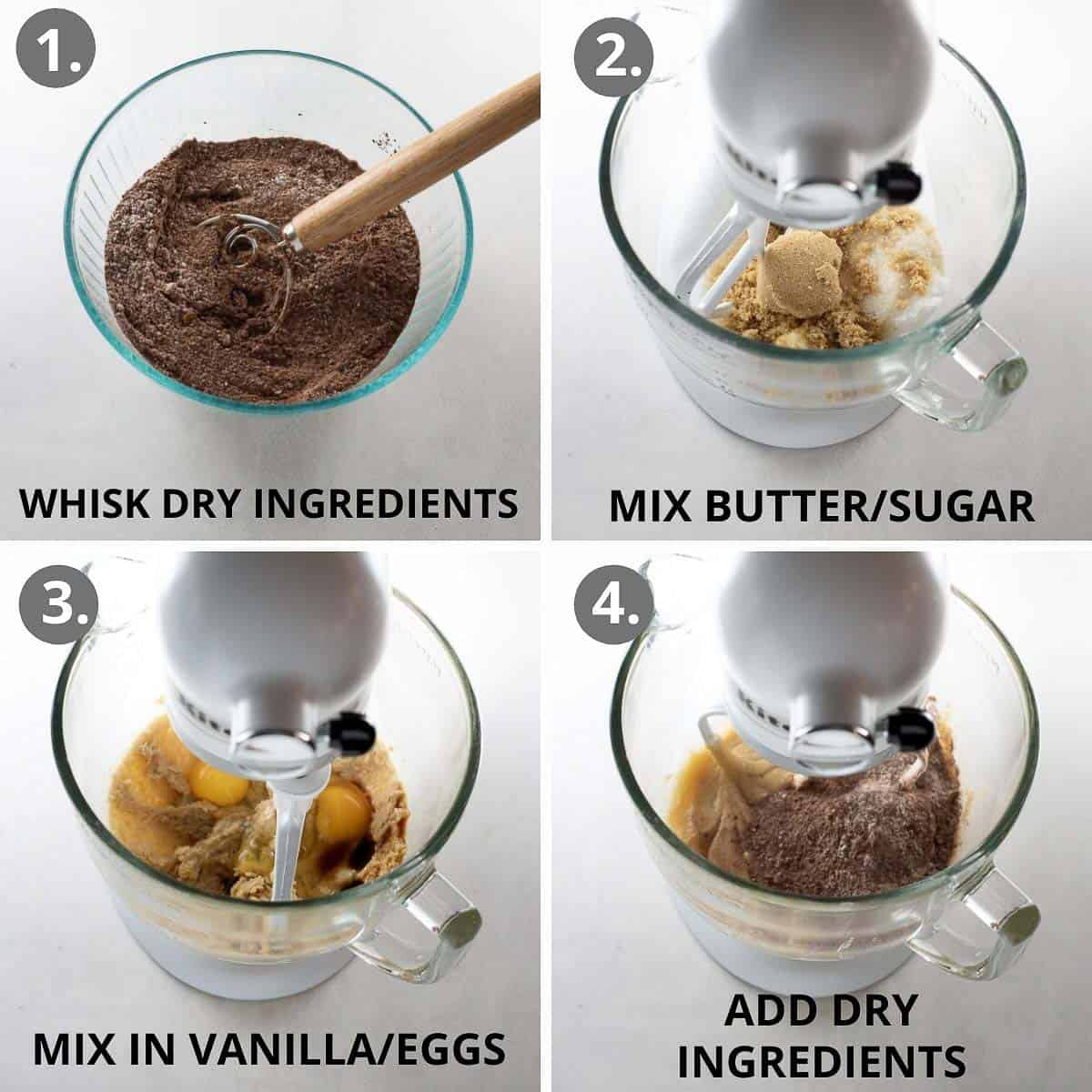 how to mix together the cookie dough
