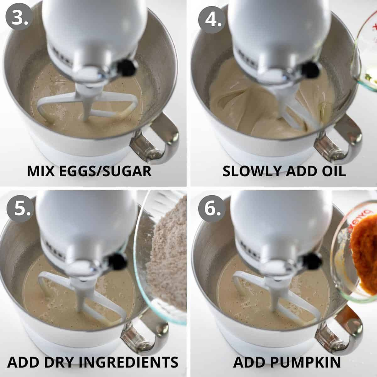 step by step photos of how to mix together pumpkin bar batter