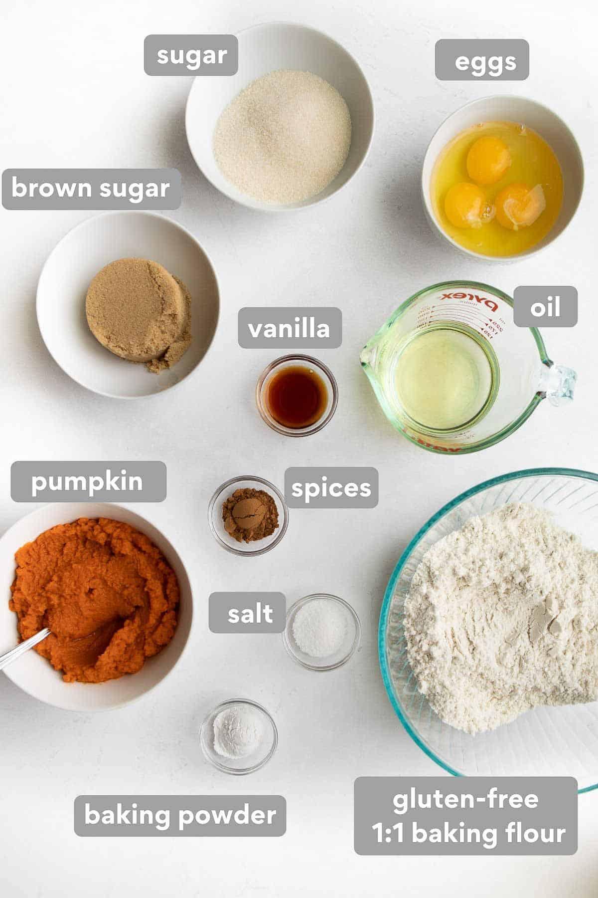 overhead shot of ingredients to make gluten free pumpkin donuts