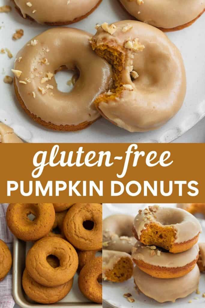 collage image for pinterest of how to make pumpkin donuts