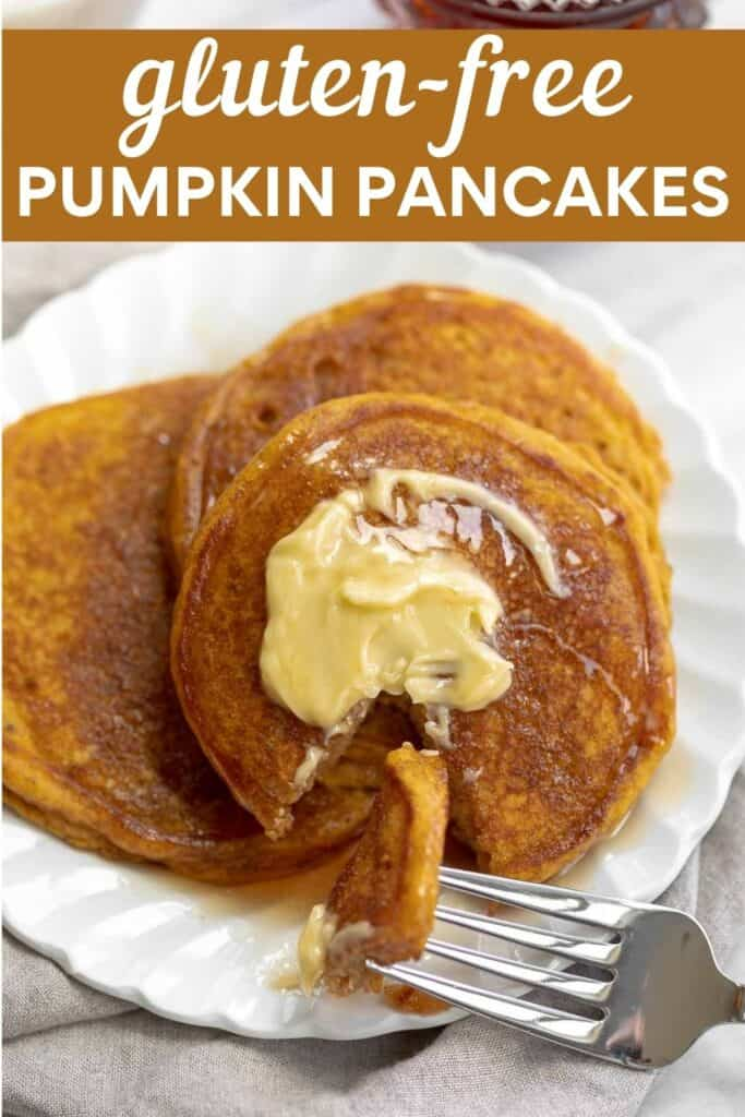 image for pinterest of close up gluten-free pumpkin pancakes topped with butter and maple syrup