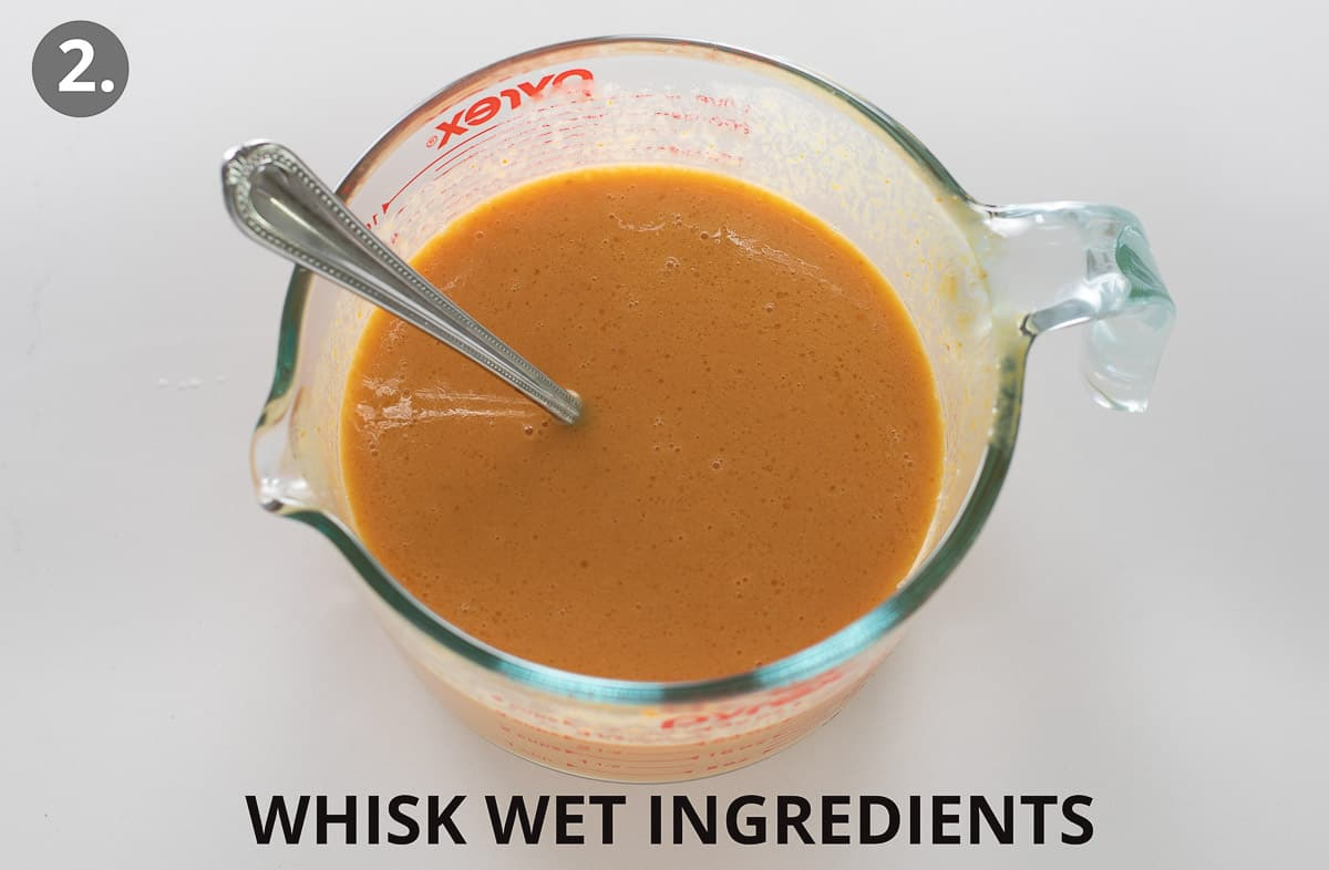 wet ingredients mixed together in large glass measuring cup